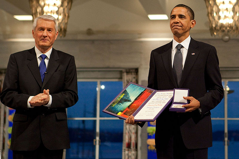 Obama receiving Nobel Prize